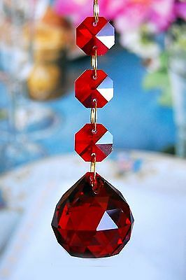 Red - Lead Glass Crystal - 30mm Crystal Ball - Chandelier Prisms Pedants