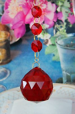 Set of 2 - Red - Lead Glass Crystal - 40mm Crystal Ball - Chandelier Prisms
