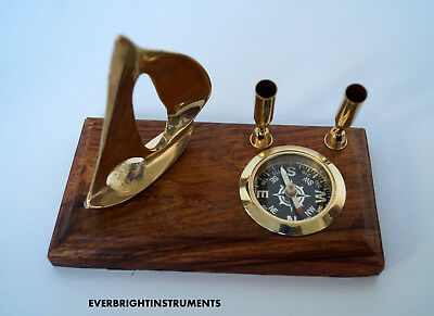 Vintage Nautical Solid Brass Compass Ship Pen Holders Beautiful Table Top Item
