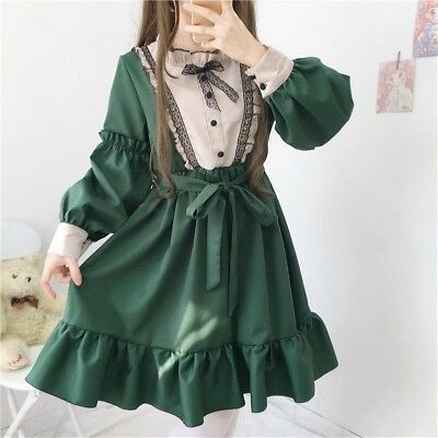 Lady Gothic Lolita Dress Victorian Lace Ruffle Puff Sleeve Dolly Skirt Zhou8