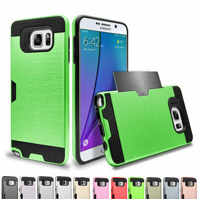 For Samsung Galaxy NOTE 5 Card Holder Heavy Duty Rugged Tough Case Cover US