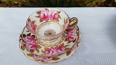 Antique English porcelain hand painted Pink Roses & Gold  Trio