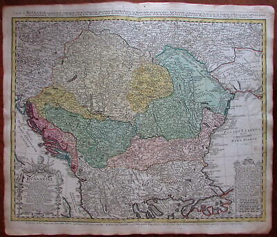Hungary Balkans Bulgaria Dalmatia coast c.1744 Homann decorative antique map