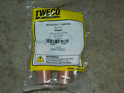 """Tweco Vnh62 Velocity Series 5/8"""" Hd Recessed Copper Nozzle For Mig Guns 2-Pack"""
