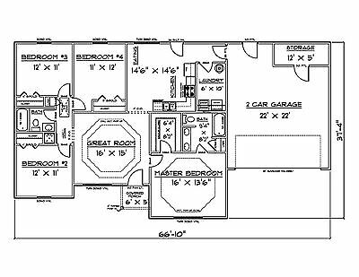 House Plans for 1500 Sq. Ft. 4 Bedroom House
