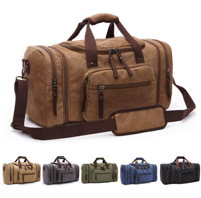 Canvas Travel Tote Luggage Large Men's Weekender Duffle Bag & Strap