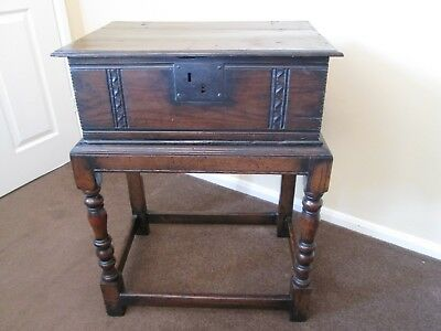 Lovely patina 18th century antique oak bible box on stand REAL BARGAIN £200