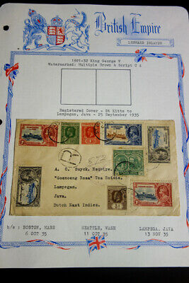 St Kitts Stamps to Java Cover Rare 1935 Jubilee Issues VF Registered