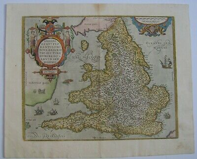 England & Wales: antique map by Abraham Ortelius, 1573 and later