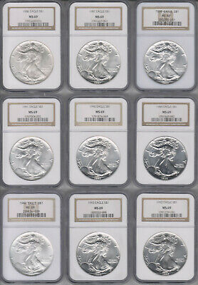 Silver American Eagle 1986-2010 Set Ngc Ms 69