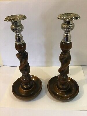 Pair antique Barley twist wooden candlesticks - metal tops