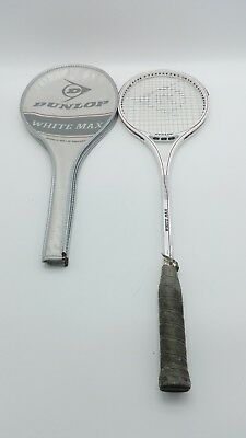 vintage dunlop white max squash Racket Racquet with cover graphite composite