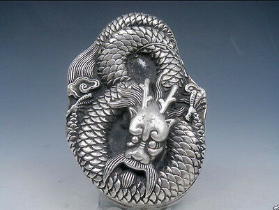 Tibetan Silver Crafted Large Heavy Ink Slab w/ Cover *Curly Dragon* Overlay SO