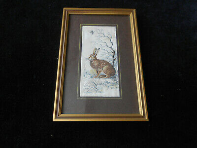 Hare By J & J Cash Vintage Silk & Rayon Woven Picture Framed