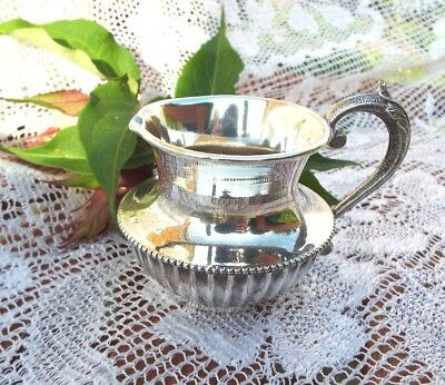 Antique Victorian vintage ornate silver plated small Cream Jug Potter Sheffield