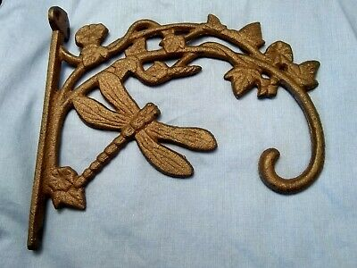 """7"""" Rustic Brown Cast Iron Wall Mounted Dragonfly With Hook."""