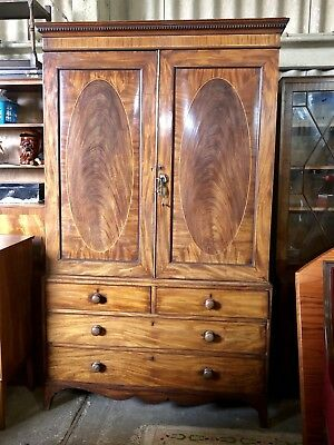 A George III Mahogany Box Wood Strung Linen Press