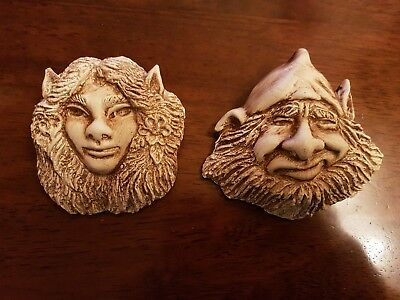 2 Fairys Faires Forest Imps Lady Gent Rubber Latex Moulds Molds Wall Plaques New
