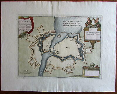 Lake Geneva city Switzerland c.1700 de Fer plan lovely antique map w/ cherubs