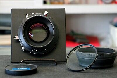 Rodenstock 240mm f/5.6 Copal 3 Sinonar-N lens with filter and hood.