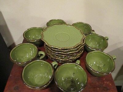 LE FAUBOURG Scalloped Edge Saucers and Tea/Coffee Cups, Made in Portugal (16pcs)