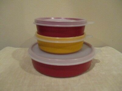 Tupperware Small Lidded  Containers, Red/Yellow 1286-10,1286-13, 1551-6 (6pcs)