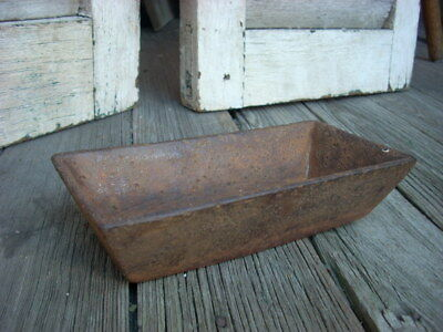 """Antique Small Size CAST IRON Feed Trough Vessel Water Dish 6"""" x 3"""" Original"""