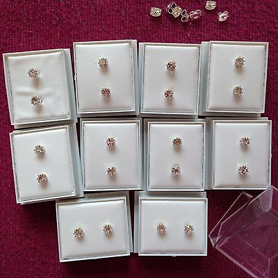JOBLOT-10 pairs of 0.5 cm  crystal diamante studs. Gift boxed. Silver plated.