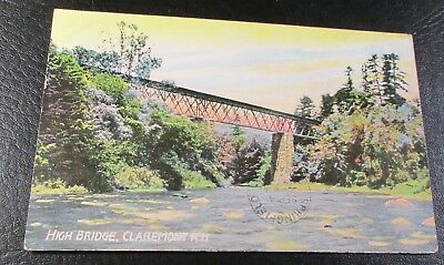 Old Postcard<CLAREMONT, NEW HAMPSHIRE>{THE HIGH RAILROAD BRIDGE--1907}