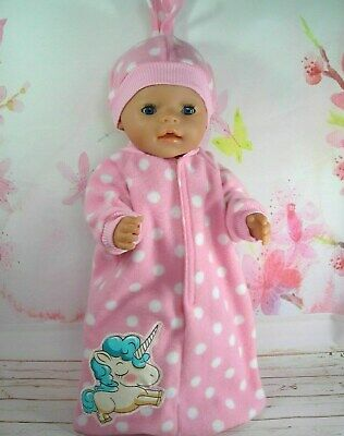"""Dolls clothes for 17"""" Baby Born doll~BABY UNICORN PINK/WHITE SPOTS SLEEPING BAG"""