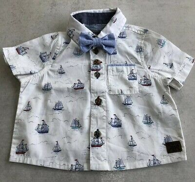 Baby Boy Monsoon Summer Sailing Boat Short Sleeved Shirt With Bow Tie 3-6 Months