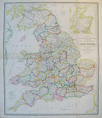 England, Wales & southern Scotland: antique map by James Wyld, c1845