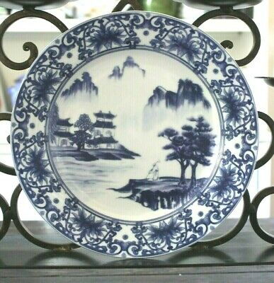 "CANTON BLUE Asian Dinner Plates Set of 8 Blue & White 10-5/8"" China Landscape"