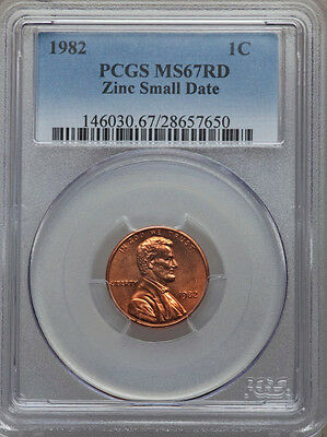 1982 PCGS MS67 RED Lincoln Penny *** Zinc Small Date ***