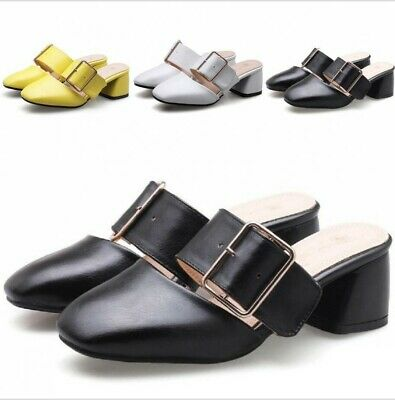 e0172f496ab Size 34-46 Ladies Mules Summer 4.5cm Chunky Heel Slip On Slipper Sandals  Casual