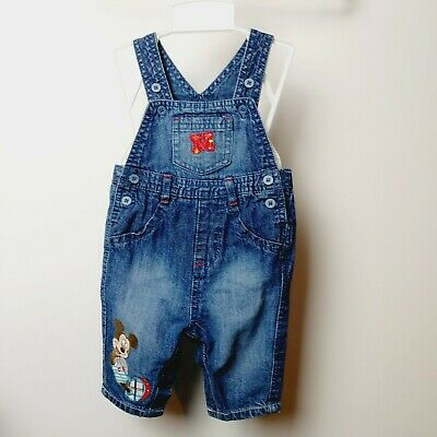 Baby Boys Mickey Mouse Embroidered Gorgeous Denim Dungarees 0-3 Months Disney