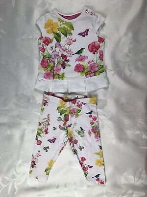 Baby Girls TED BAKER Pink Rose Print Top & Leggings 3-6 Months
