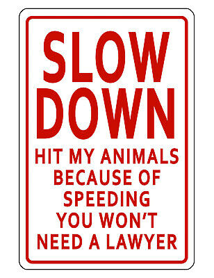 Slow Down Animals Sign Durable No Rust Aluminum Weatherproof Sign Bright Color