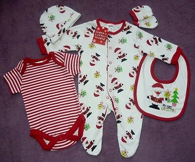 52d905811 Baby Boys My First Christmas Sleepsuit Bodysuit Bib Hat Mittens Outfit Gift  Set