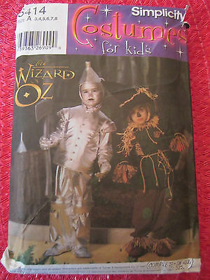 940738d66 SIMPLICITY 5414 CHILD's Wizard Of Oz COSTUME TINMAN or SCARECROW PATTERN 3-8