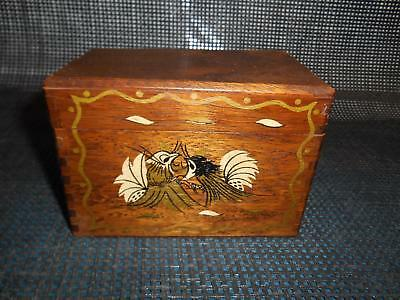 Old Vtg Wood RECIPE CARD FILE BOX Dove-Tailed Lift Off Lid Kitchen Decor