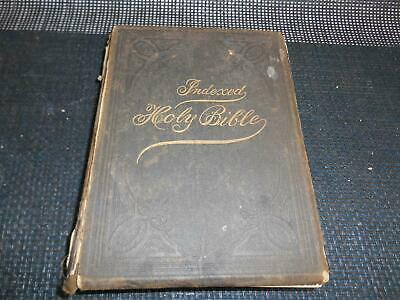 Antique 1905 Religious Book THE INDEXED HOLY BIBLE Biblical Biography History