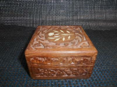 Brass Inlaid Hand Carved Wood Trinket Box India 4 styles Moon Stars Floral