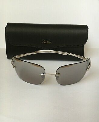 f4c7617b130f Cartier Rimless Panthere Sunglasses Silver Grey Mirror Leopard Print Panther