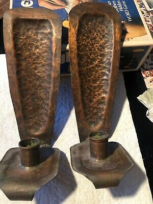 Vintage Pair of Arts and Crafts Hammered Copper Candle Wall Sconces 10""