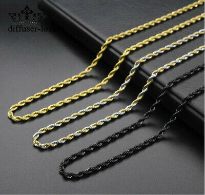 316L Stainless Steel Silver&Gold&Black Twist Chain Necklace For Women Men Gift