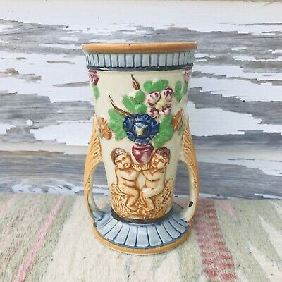 "Rare Antique Japan MAJOLICA Small 5.25"" 2 Handled Floral Vase"