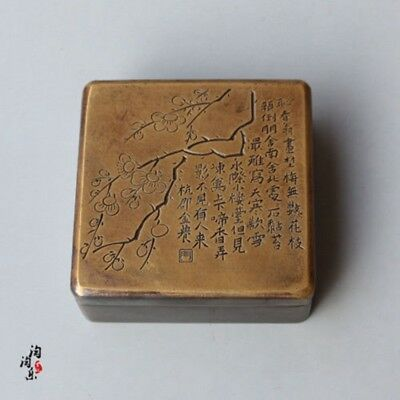 Collection Chinese carving calligraphy square old copper Plum ink box