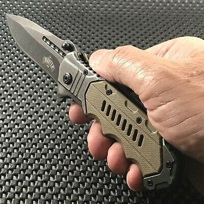 "8"" Spring Assisted Tactical Military Stonewash Rescue Folding Pocket Knife Blade"