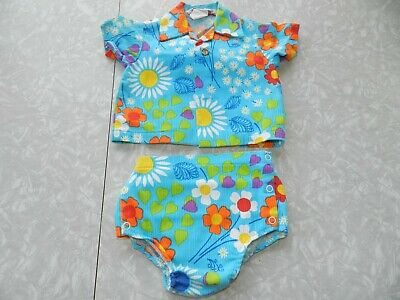 VTG 60s 70s HAWAIIAN BATHING SUIT SHIRT BOYS GIRLS TURQUOISE BLUE BABY TODDLER